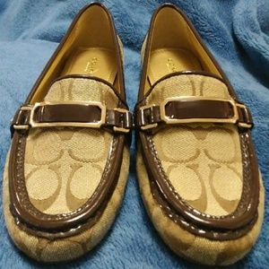 "Coach ""Flynn"" brown canvas loafers/flats"
